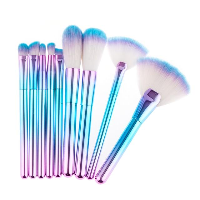 Pędzle Do Makijażu Profesjonalne Kosmetyki Fioletowy Niebieski Jasny