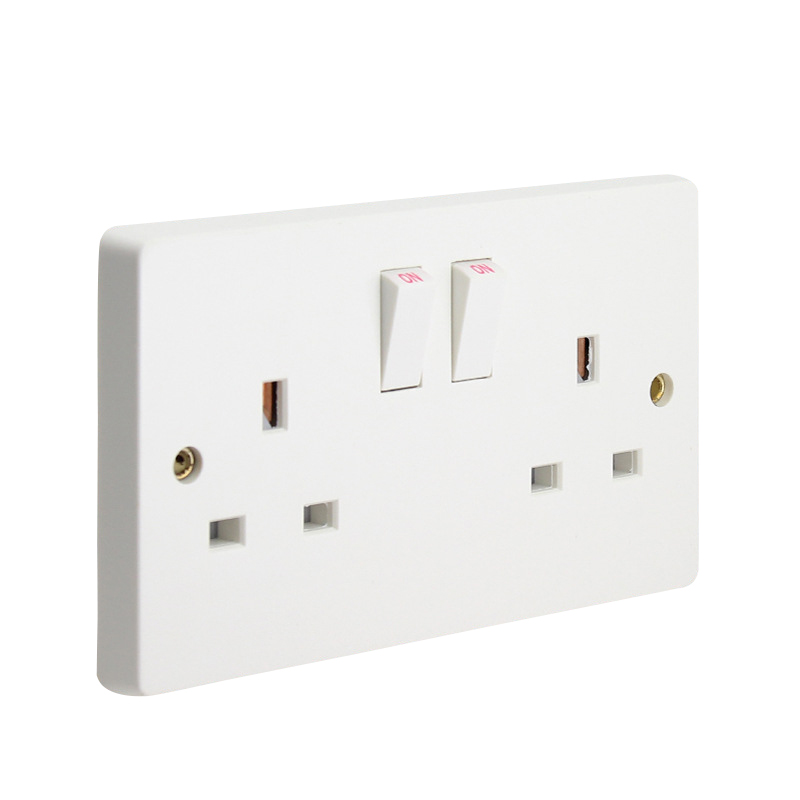 13A 250V British Standard Electrical Double Outlet Switch 146mm * 86mm Wall Power Dual UK Socket Plug Grounded british mk british unit power supply socket metal 13a power outlet british standard unit socket