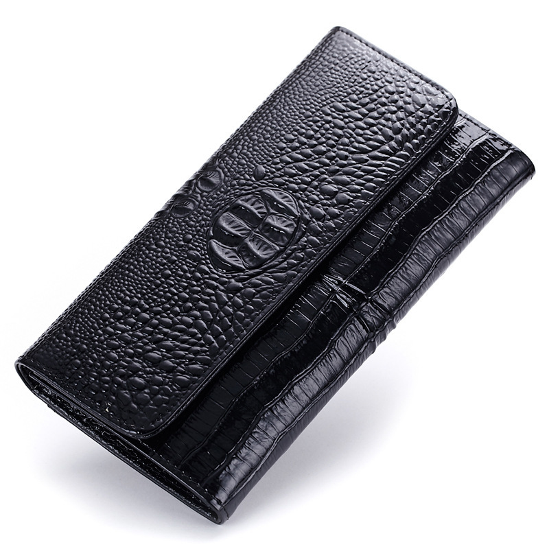 fashion Genuine Leather 3D Embossing Alligator Lady Crocodile Long Clutch Wallets Women Wallet Female Coin Purses Holders Brand aequeen crocodile leather gril wallet women short purses lady coin purse fashion stone 3 fold wallets girl id card holders brand