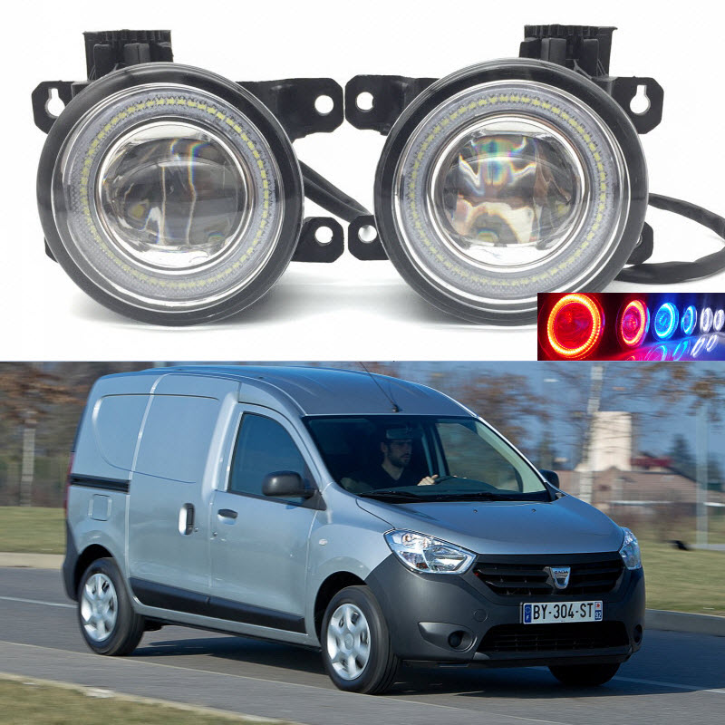 For Dacia Dokker 2013-2017 2-in-1 LED 3 Colors Angel Eyes DRL Daytime Running Lights Cut-Line Lens Fog Lights Car Styling for opel astra h gtc 2005 15 h11 wiring harness sockets wire connector switch 2 fog lights drl front bumper 5d lens led lamp
