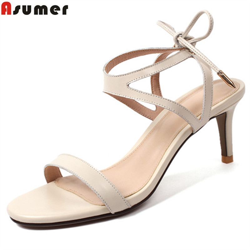 ASUMER beige elegant summer new sandals women cross tied shoes woman sexy wedding shoes genuine leather high heels shoes hee grand cross tied women sandals summer sexy square high heels flock wedding shoes woman elegant pumps ladies 3 colors xwz2049