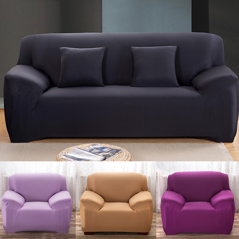 Slipcover Stretch-Seat-Couch-Cover Elastic Anti-Slip Living-Room Solid-Color for 1/2/3/4-seater