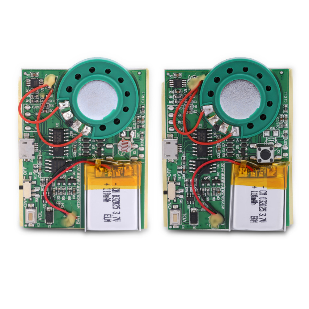 USB Música de Sonido de Grabación de Voz Módulo de Chip 1 W con Batería De Litio Recargable