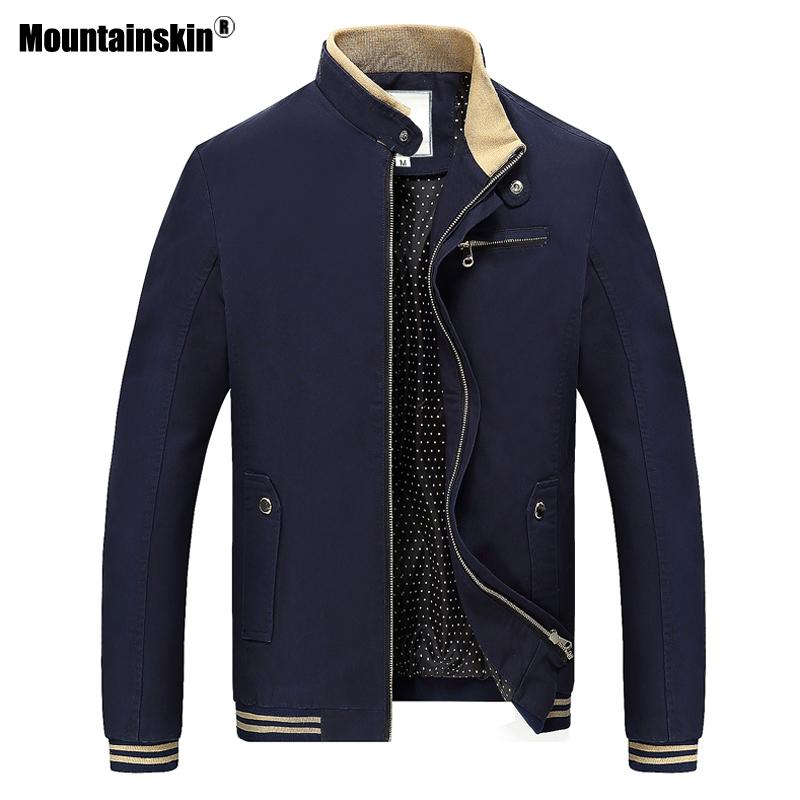Mountainskin Spring Autumn Casual Men's Jacket Stand Collar Men Coats Slim Fit Male Outerwear Coat Mens Brand Clothing 4XL SA511