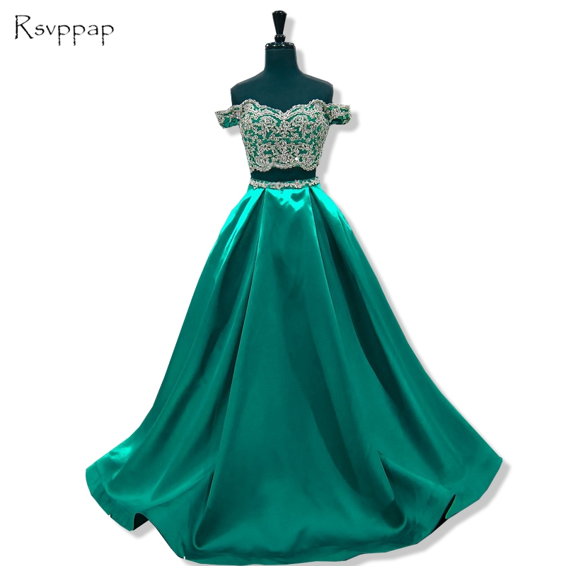 Long Elegant   Prom     Dress   2019 A-line Cap Sleeve Beaded Lace African Floor Length Emerald Green Two Piece   Prom     Dresses