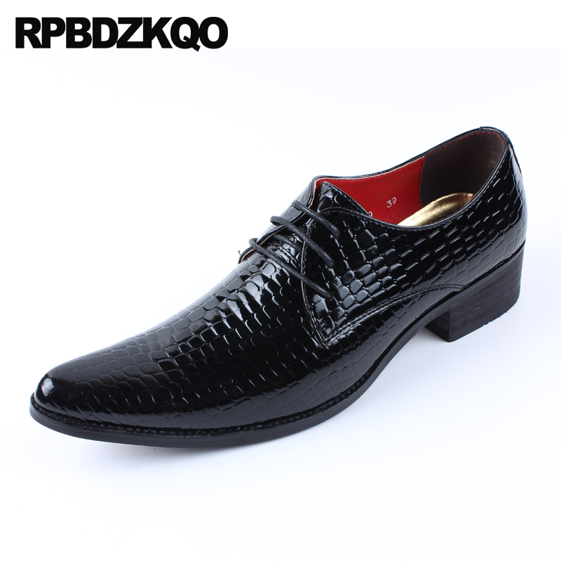 Spirited Wedding Snakeskin Oxfords High Heel Alligator Crocodile 2018 Snake Skin Blue Formal Python Leather Men Black Patent Dress Shoes Shoes