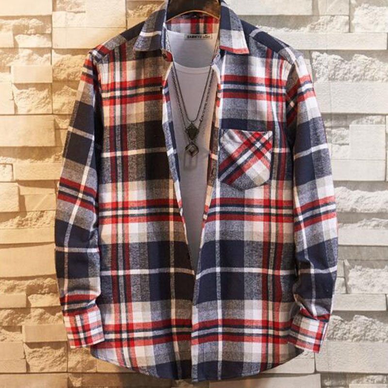 Men Long Sleeve Flannel Comfortable Single Breasted Casual Shirts Camisa,Breathable Plaid Printed Turn-down Collar Shirts Cloth