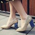 Aiweiyi manera de las mujeres bombas sexy mary jane zapatos de tacón alto de oro de plata brillo punta redonda bombas de la plataforma zapatos de novia de la boda
