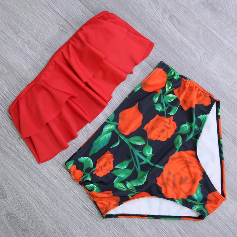 HTB1q4Aka7T2gK0jSZFkq6AIQFXar 2019 New Bikinis Women Swimsuit High Waist Bathing Suit Plus Size Swimwear Push Up Bikini Set Vintage Beach Wear Biquini