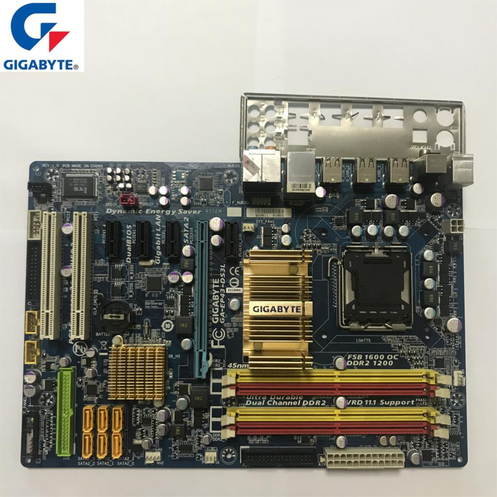 Gigabyt GA-EP43-DS3L 100% Original Motherboard LGA 775 DDR2 Desktop Computer Mainboard 16GB EP43-DS3L EP43 DS3L Boards P43 Used