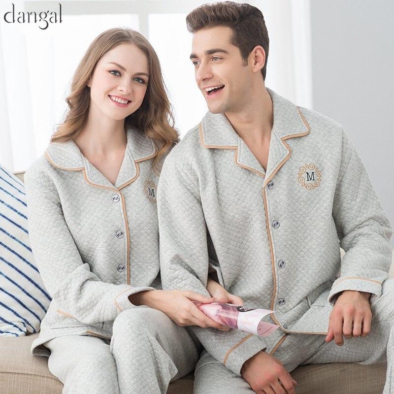 Dangel Couple Pajamas Man Women Pajamas Winter Autumn Cotton Long Sleeves Lapel Couple Pajamas Thick Warm Couple Pajama Grey