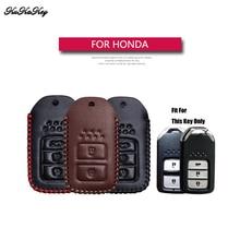 Genuine Leather Remote Keyless Car Key Case Cover Holder For Honda Accord Vezel Civic Pilot CRV HRV JAZZ Key Shell Bag For Honda все цены