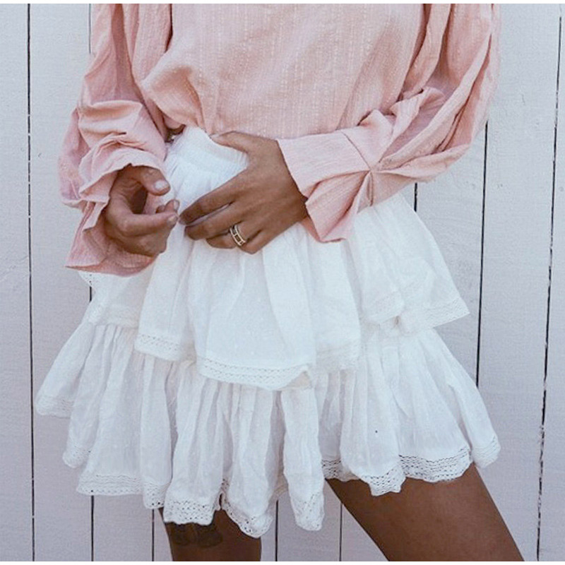 High Waist A-Line Mini White Skirt 1