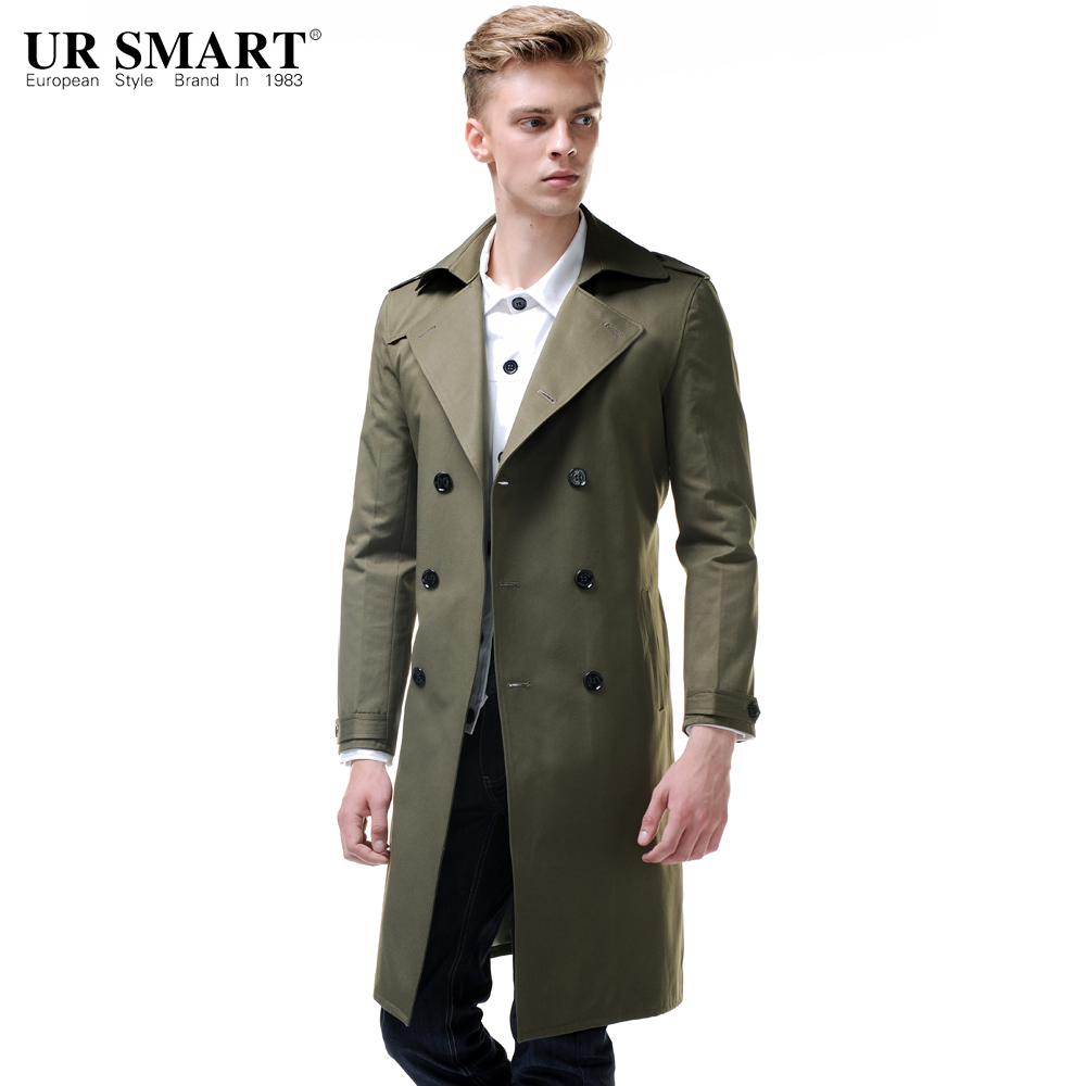 URSMART New England style is super long men's windbreaker double-breasted waist after open fork male trench coat