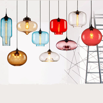Modern Glass Pendant Lamp Globe round Pendant Lights Colorful Hanglamp For Kitchen Restaurant Light Fixture Luminaria lighting