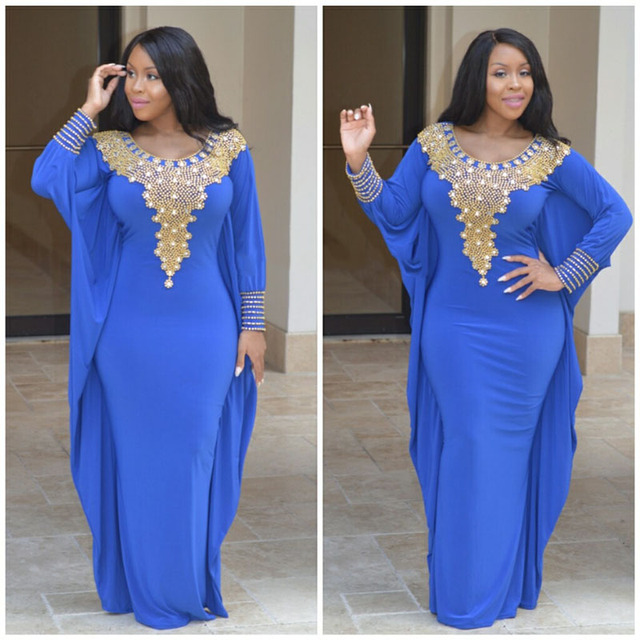 ff73dfc9bb81 LORIE Royal Blue Evening Gowns Plus Size Beading Gold Rhinestones Dubai  Kaftan African Arabic Spandex Long