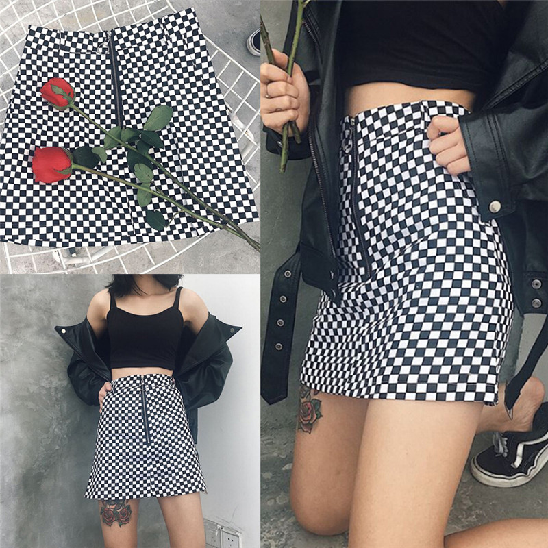 Women' AA High Waist Plaid Pleated Skirt Female British Preppy Retro Style Harajuku Skirts