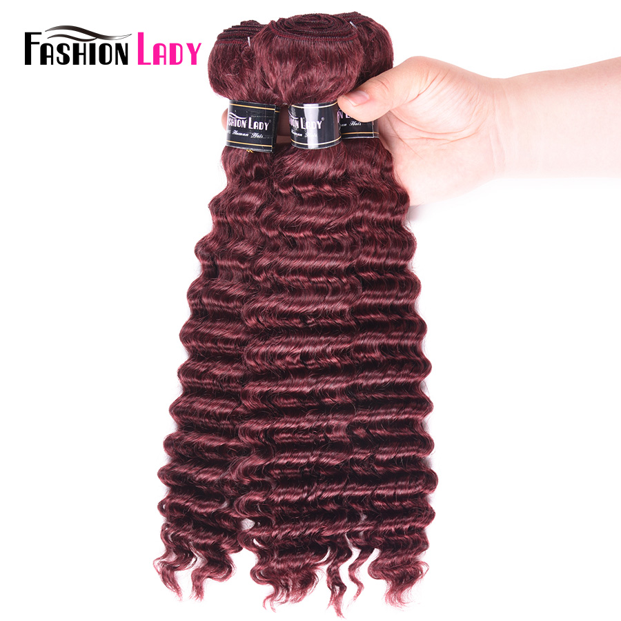 Fashion Lady Pre-colored 99j Brazilian Deep Wave Hair Bundles 3 Pcs Human Hair Bundles  Non Remy