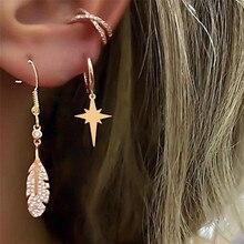 TTLIFE 3Pcs Geometric Simple Metallic Rhinestone Star Leaf Feather Earrings Zircon Gold Color Ear Cuff Jewelry for Women Girls