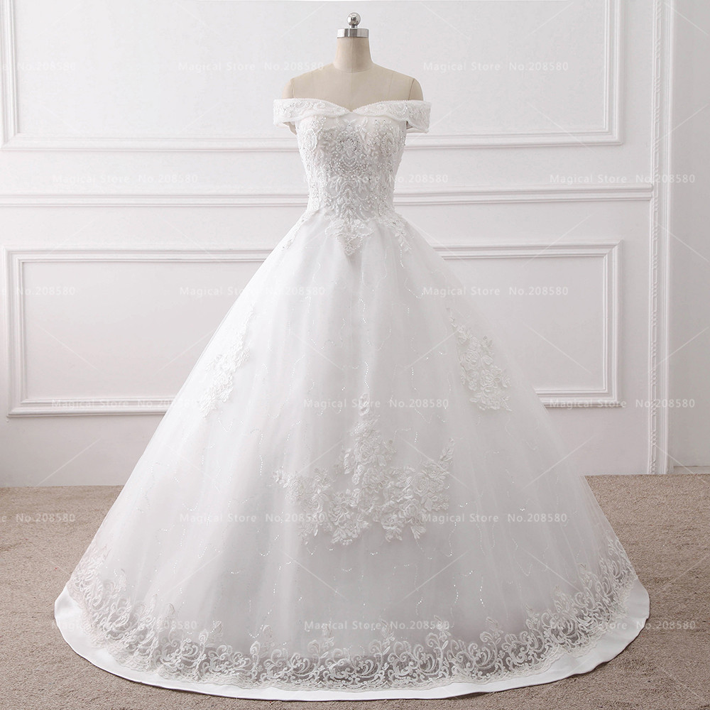 Vintage Princess Wedding Gowns Lace Bateau Beads Korean Bridal Dress ...