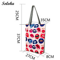 Summer Beach Bag Women Large Capacity Shopping Bag Handbag Female Sexy Lips Print Canvas Shoulder Bag