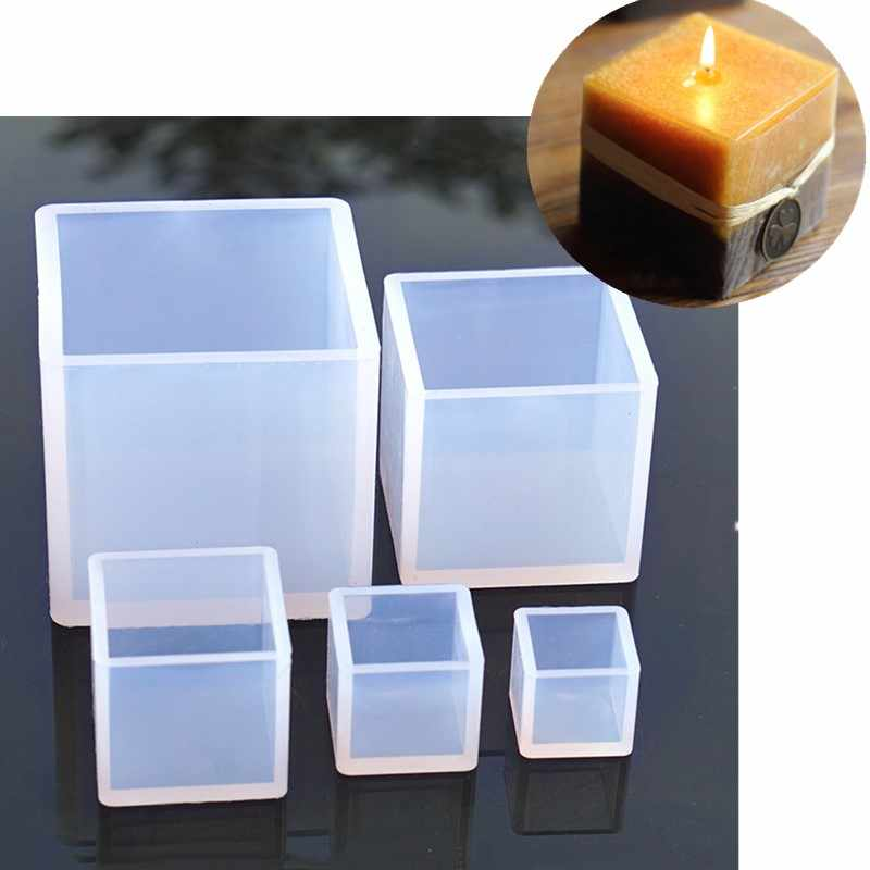 New Cube Shape Candle Silicone Mold DIY Gypsum Plaster Crafts Mould Square Silicone Soap Candle Resin Molds