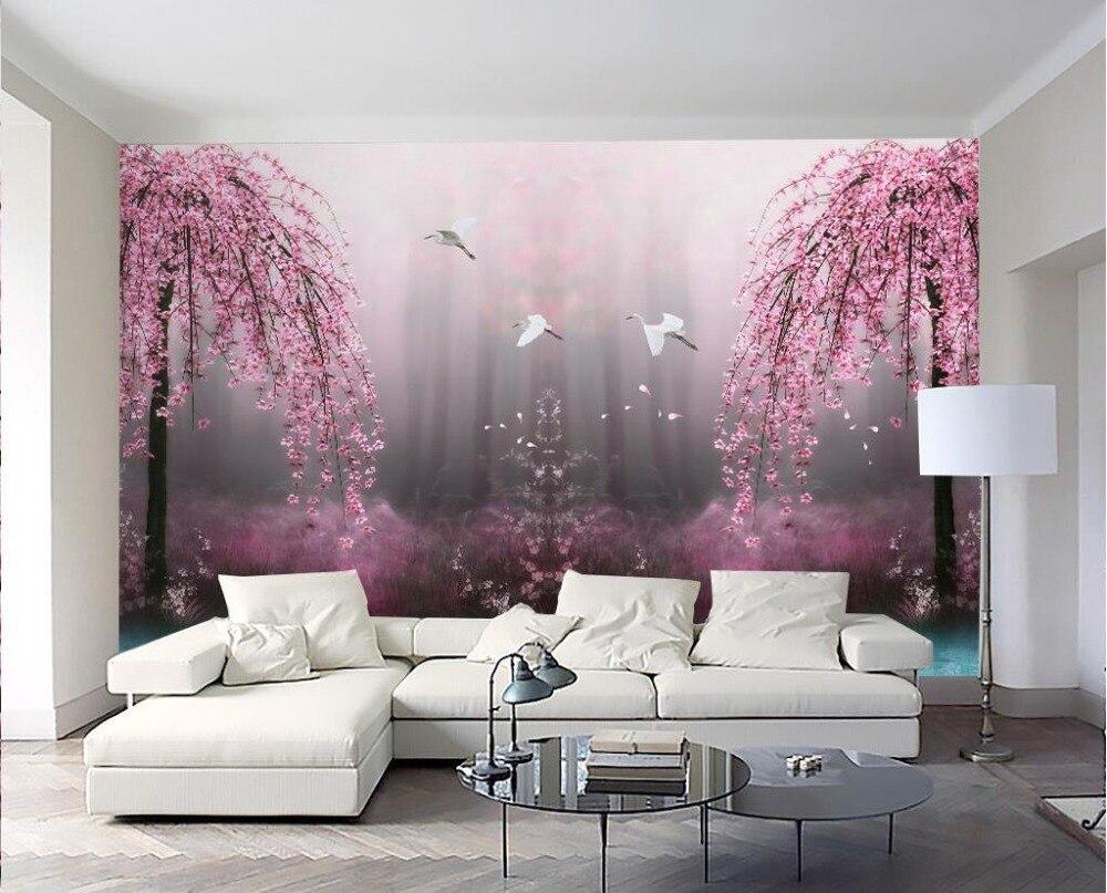 3d Wallpaper Kustom Foto Non Woven Mural Pink Mimpi Swan Lake