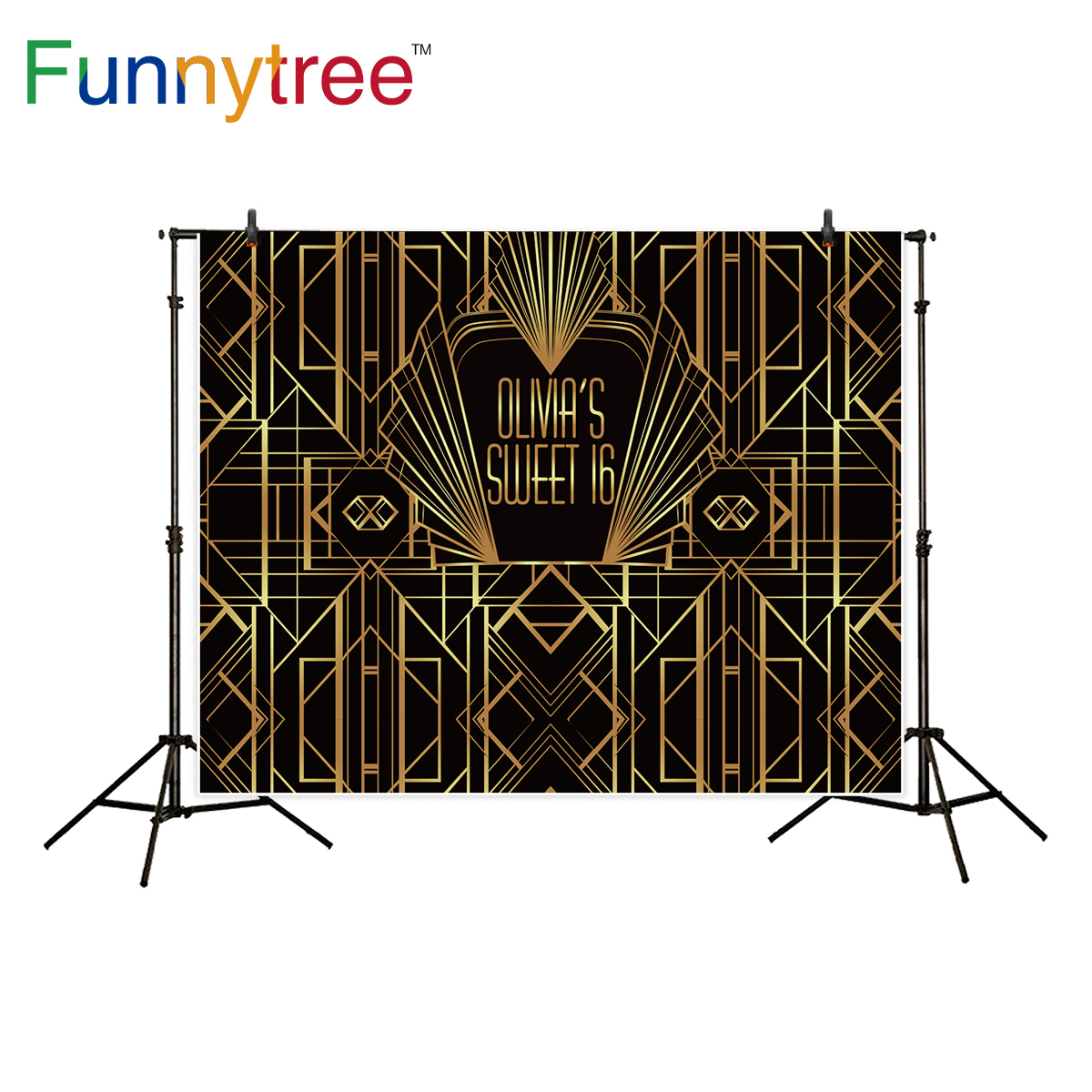 Funnytree great Gatsby backdrop for photography studio sweet birthday table decor black gold background photocall photobooth fitzgerald f the great gatsby stage 5 сd