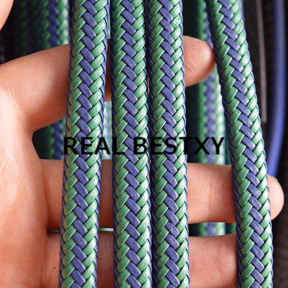 Prawdziwe BESTXY 5 m/partia 9.3*6.2mm zielony niebieski pleciony pasek ze skóry sznury płaskie do tworzenia biżuterii bransoletka DIY materiał skórzane paski