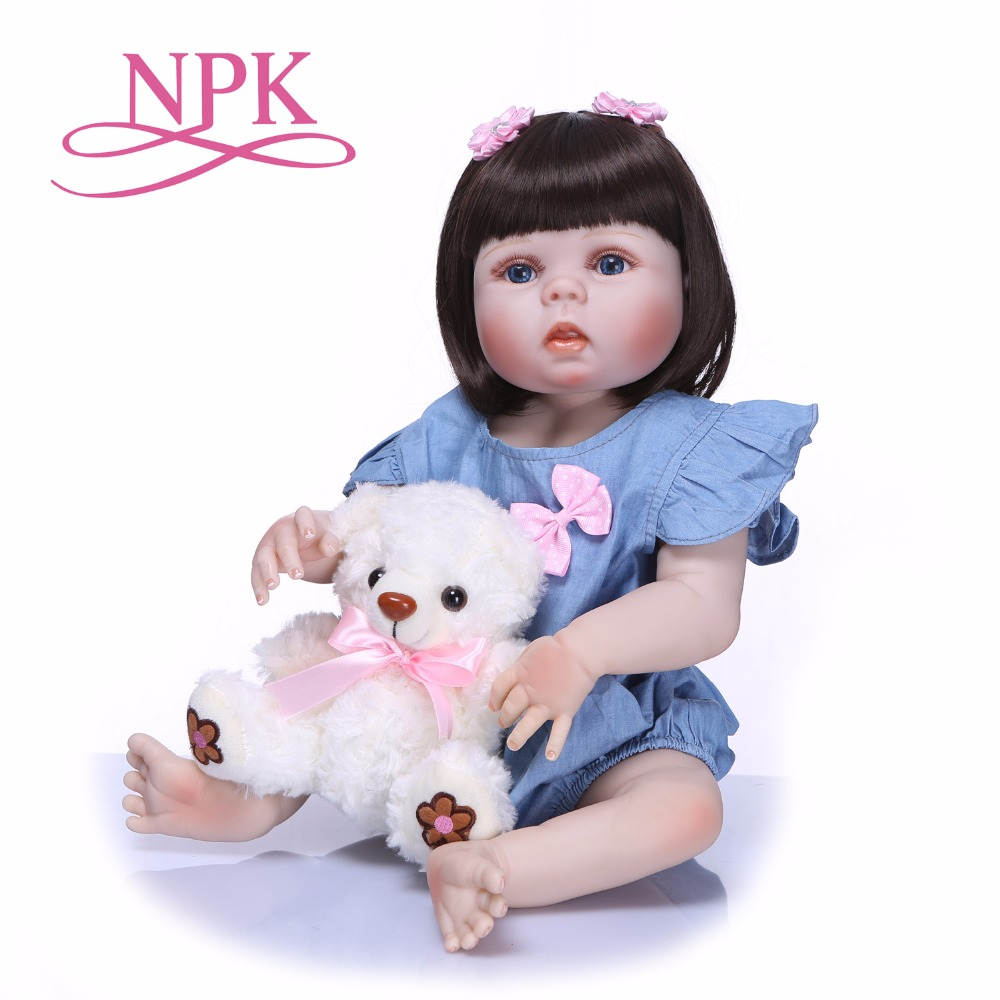 NPK 55 см всего тела силиконовые возрождается девочка куклы реалистичные платье принцессы новорожденных кукла милый подарок на день рождения...