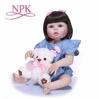 NPK 55cm Full Body Silicone Reborn Girl Baby Doll Toy Lifelike Princess Dress Newborn Babies Doll Cute Birthday Gift Bathe Toys