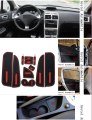 For Peugeot 307 Car Anti slip dust mat sticker gate slot pad door carpets Interior cup holder decoration