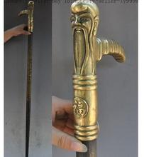 Grandpa Good Lucky Old Chinese Folk China bronze brass Longevity god head dragon phoenix Crutches Walking stick cane