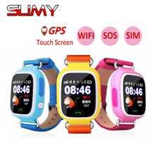 Получить скидку Слизняк Q90 gps Детские умные часы для Smartwatch gps положение Wi-Fi Расположение Finder для детей анти потерянный монитор с Сенсорный экран