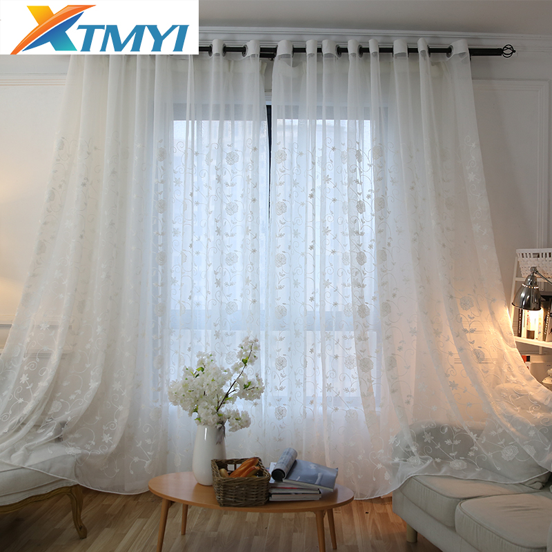 Modern embroidered tulle Curtains for Living Room Window Screening Voile Sheer Curtains Bedroom Kids Curtains