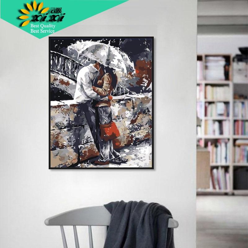 Romatic lover Home Art Nástěnné obrázky pro obývací pokoj Kreslení Moderní dekorace Obrázek DIY Malba podle čísel