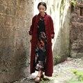 Ropa de Cama de algodón Jacquard Gabardina Para Las Mujeres 2016 Otoño Abrigo Largo Vino Tinto Casaco abrigo Cazadora Chaqueta Tradicional china