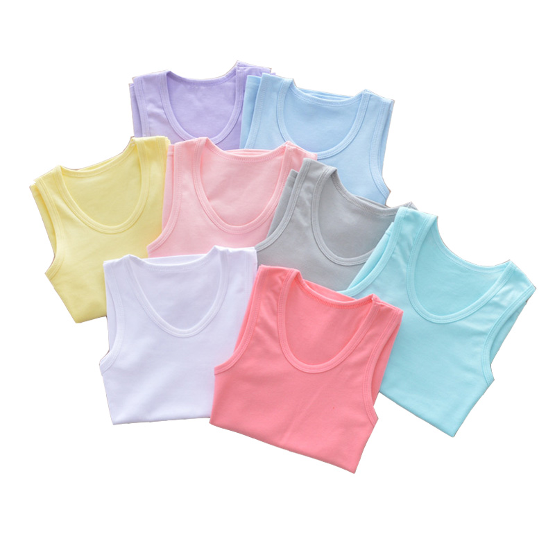 2-10T Good Quality Kids Tops 2019 Cool Summer Children Clothing Boy Girl Comfortable Sleeveless Sport Cotton Cute Solid T-shirts
