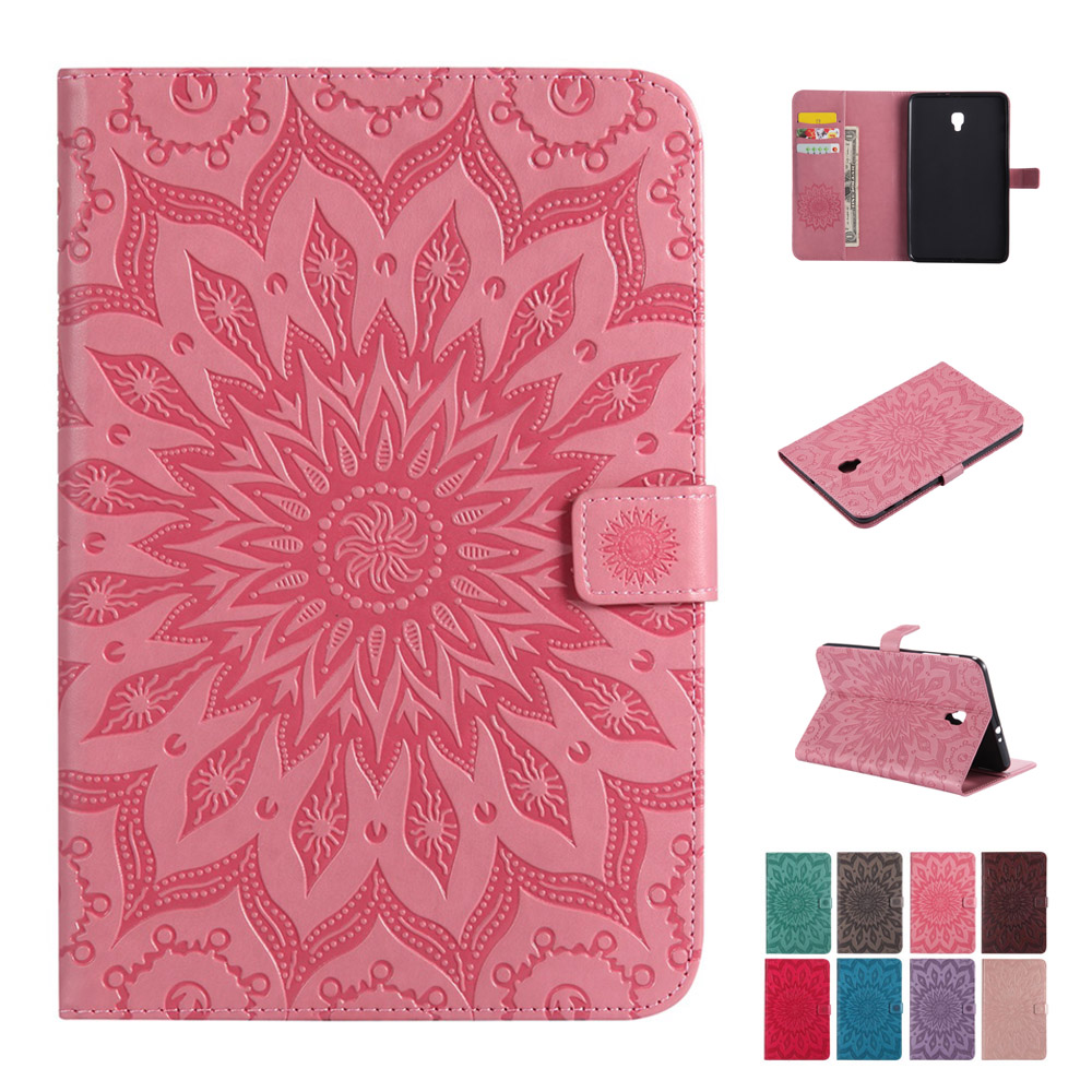 Case For Samsung Galaxy Tab A 8.0 2017 T380 T385 Fashion Sunflower PU Leather Silicone Tablets Books Case Cover Shell