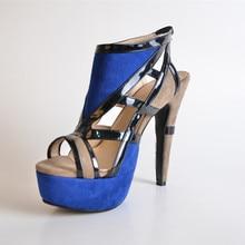 Color Matching Suede Women's Pump Heel Platform Sandals  Shoes 2015 Women Shoes Fashion Comfortable Thin High Elastic Band