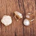 Blucome cáscara de la manera rose sistemas de la joyería de aretes y anillo de oro plateado flor perla simulada de la mujer joyas de cristal orecchini aros