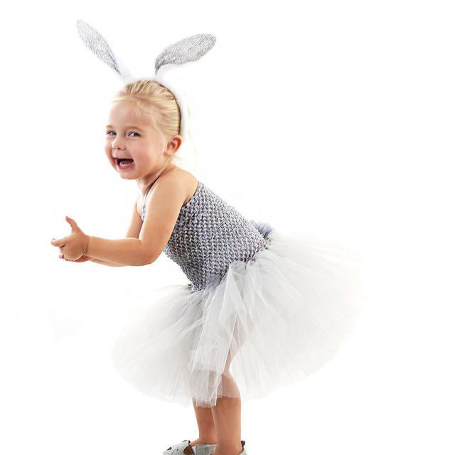 Girls Fluffy Rabbit Dress Costume