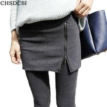 Autumn Side Zipper Leggings Women Cotton Black Culottes Legging