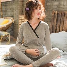 Postpartum mother Nursing Pajamas Set with Trousers Cotton Expectant Mother Lactation Clothes bust cushion Sleepwear