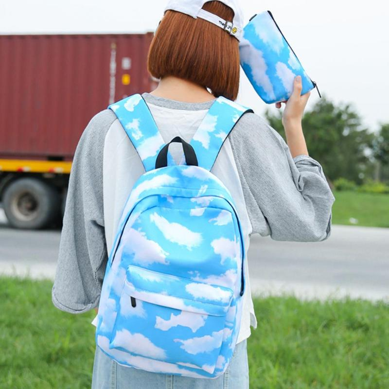 2Pcs/Set Backpack 3D Printing Travel Softback Backpack Mochila School Bookbags Girls Large Backpacks Daypack Female