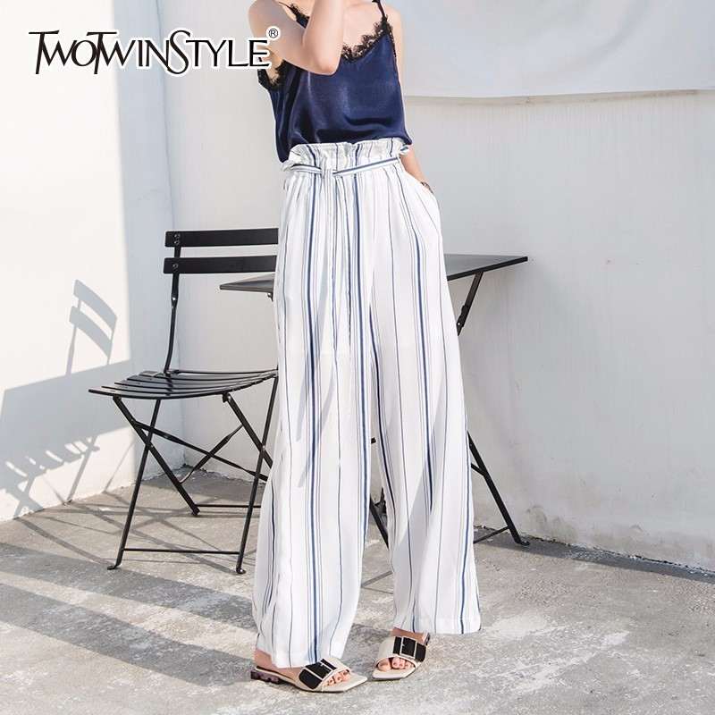 TWOTWINSTYLE Striped Wide Leg Pants For Women Belt High Waist Ruffles Pocket Maxi Trousers Summer Female 2018 Fashion OL Clothes