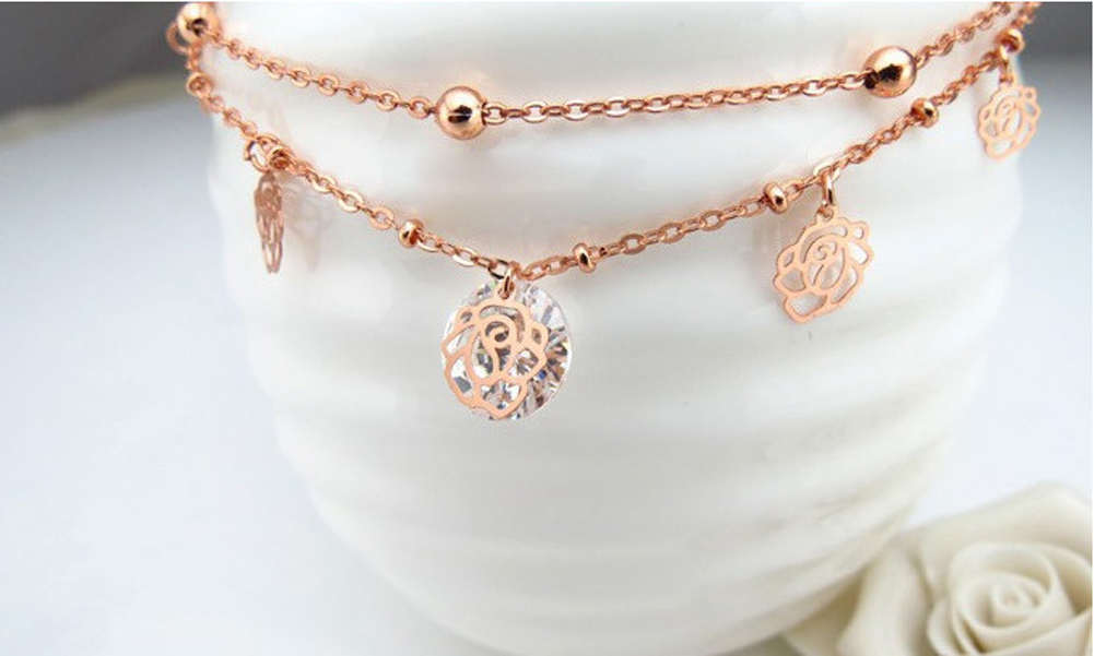 Fashion Rose Gold Color Roses Zircon Shaped Anklets Double Chains Ankle Chain M808
