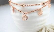 Мода Розовое Золото Цвет Розы Циркон В Форме Браслеты Двойные Цепи Лодыжки Цепи M808