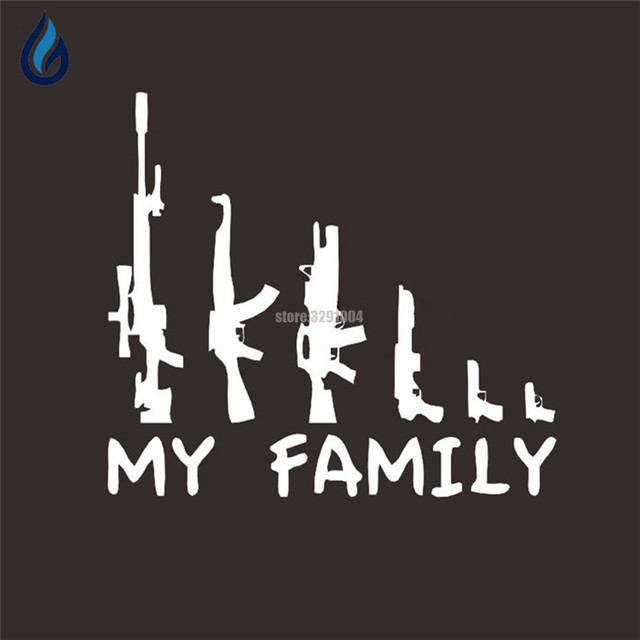 22 925 4cm my family stickers wild military gun enthusiasts car stickers decals for peugeot