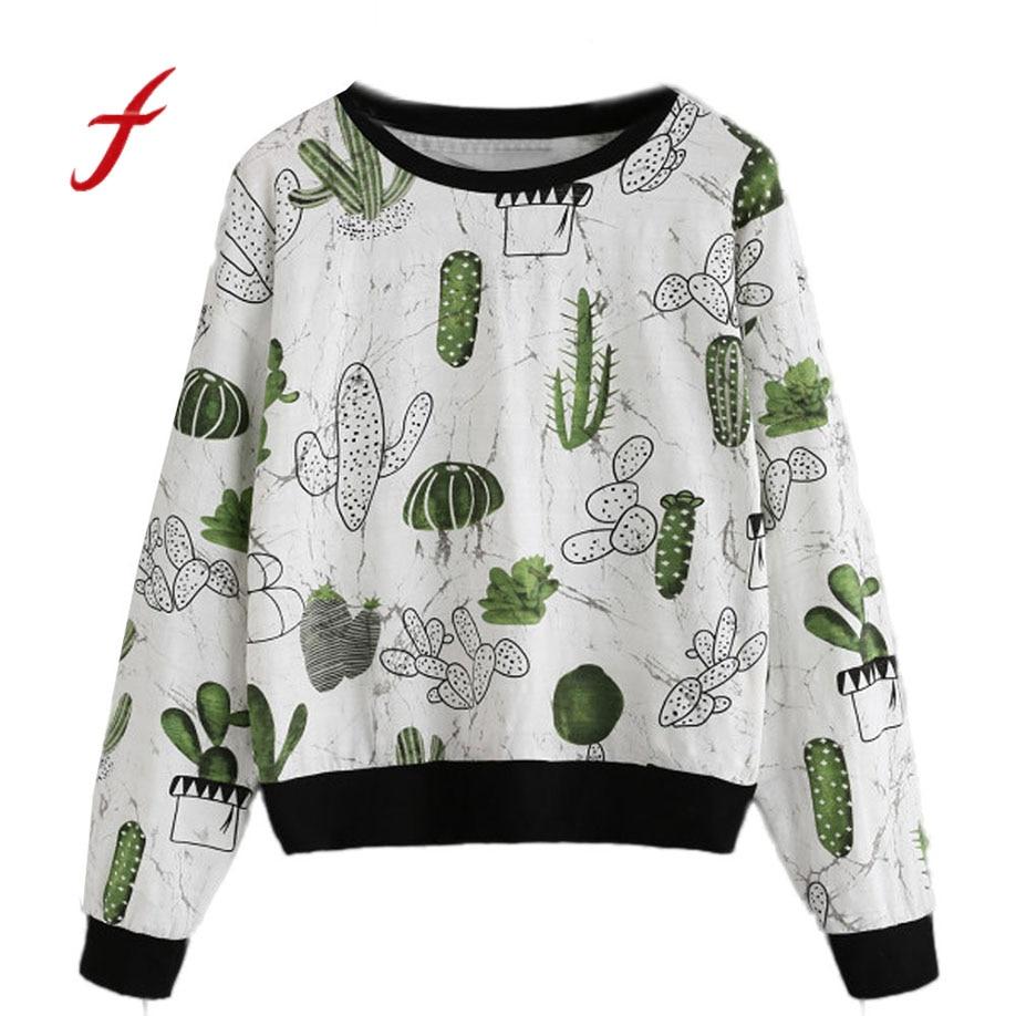 2018 Feitong Frauen Kleidung Allover Kaktus Druck Ringer Sweatshirt Kawaii Reizende Nette Mädchen Splice Herbst Frühling Kleidung Elegantes Und Robustes Paket